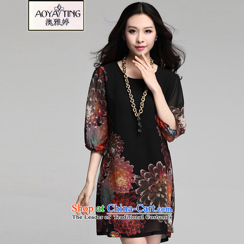 O Ya-ting to increase women's code 2015 Summer new expertise, Hin thin ice woven dresses mother boxed stamp skirts Sau San female black�L爎ecommends that you 140-160 characters catty