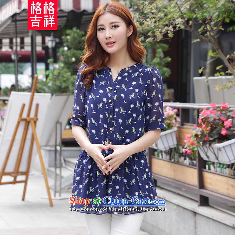 The interpolator auspicious 2015 to increase the number of women with new summer thick mm Foutune of video thin short-sleeved shirt stamp chiffon T-shirt shirt blue 3XL Y1195 female