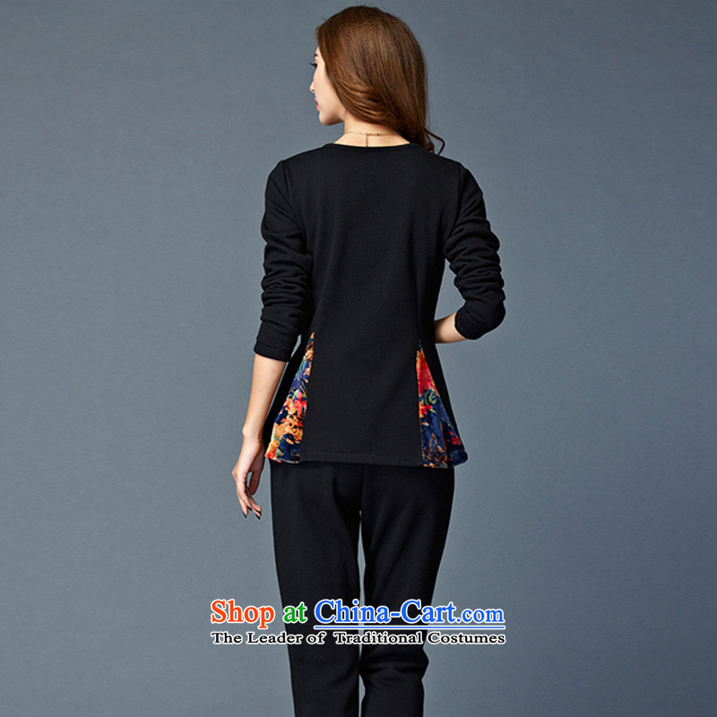 Elisabeth Kosovo's 2015 Fall/Winter Collections new to increase women's code is not down the lint-free thickened lint-free warm two leisure sweater Kit 8802 Black  4XL recommendations 165-180, Elisabeth Kosovo-savoil) , , , shopping on the Internet