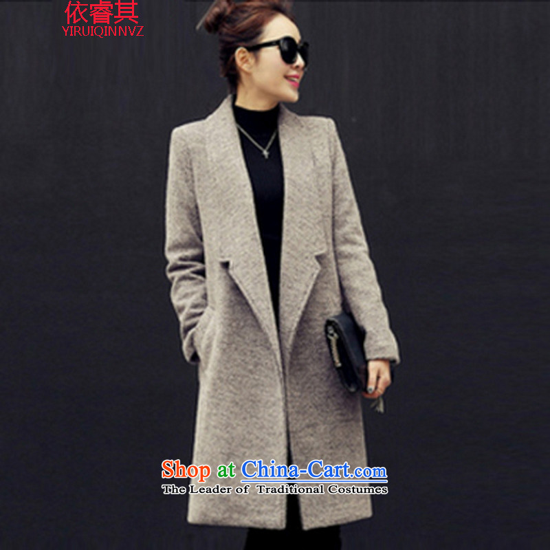 In accordance with the core of its 2015 autumn and winter new Korean Sau San a wool coat in the long hair? female thick gray jacket L