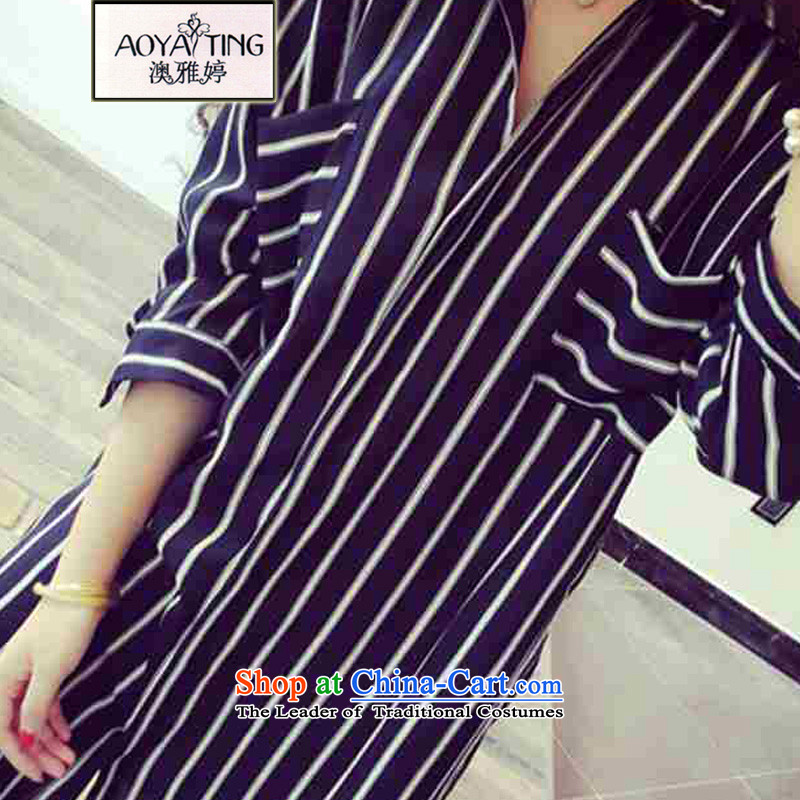 O Ya-ting to increase women's code 2015 summer in New mm thick long chiffon shirt striped shirts female black 3XL 145-165 recommends that you Jin