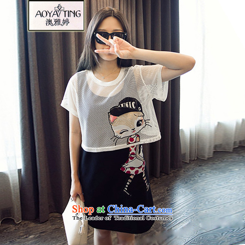 O Ya-ting to increase women's code thick mm summer two sets of replacing the new 2015 skirt short-sleeved dresses in long loose video thin summer picture color two kits125-145 2XL recommends that you Jin