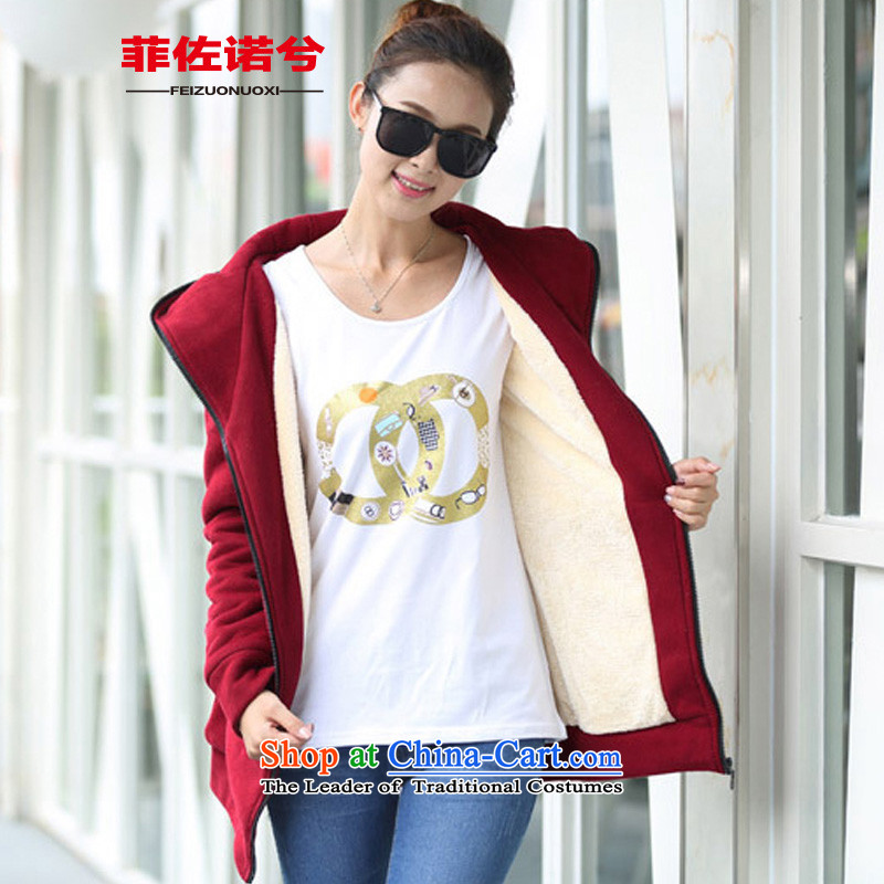 The officials of the fuseau larger female winter Lamb Wool Velvet thick large jacket thick mm to xl 泾蜮 wine red�0-220 4XL catty