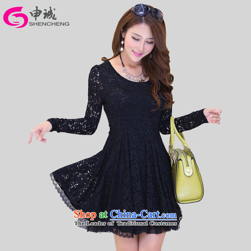 Shin Sung to xl female lace dresses mm2015 thick Korean version of the summer and fall of new expertise sister video thin short-sleeved bubble Cuff�2燘lack - Long-Sleeve skirts燤爎ecommendations 80-100 catty