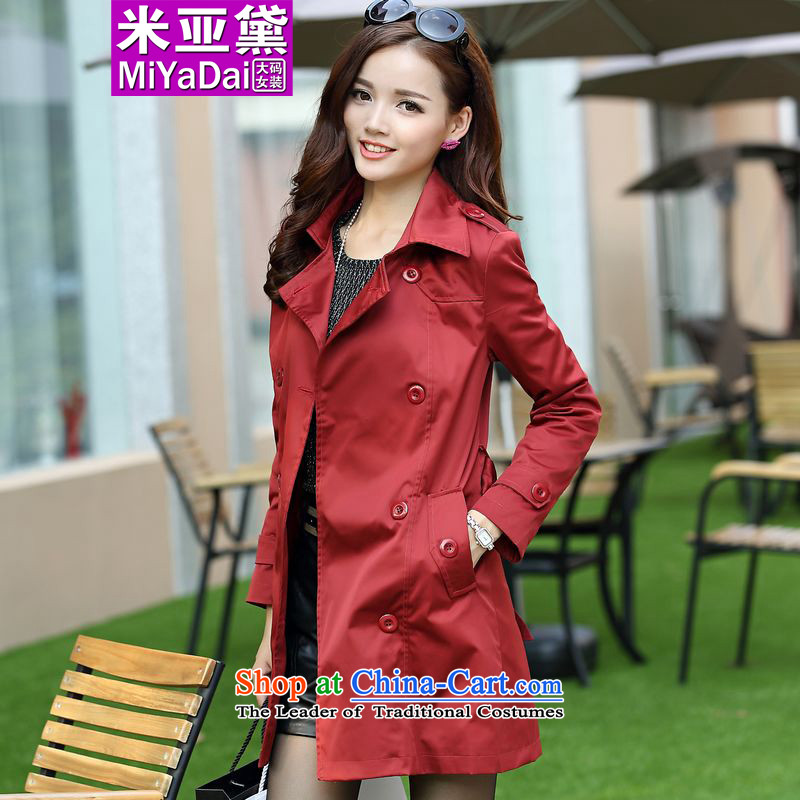 The Doi larger female windbreaker thick mm autumn and winter 2015 new Korean version in the thin long Sau San Fat sister wind jacket to 200 catties wine red燲L_ recommendations 120-140 catties_