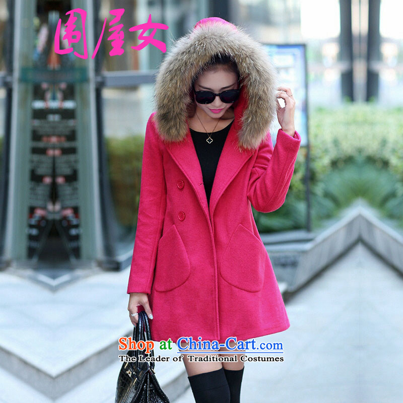 Wai House _weiwunv_ female Korean autumn and winter load new upscale relaxd really linked child gross for removable Gross Gross for long coats of female Red? L