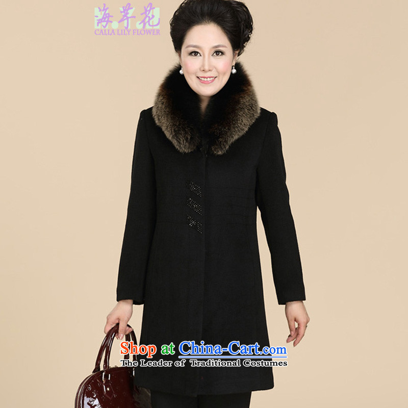 The sea route to spend thewinter 2015 new fox gross for long black hair large cashmere overcoat 1376-616? black4XL