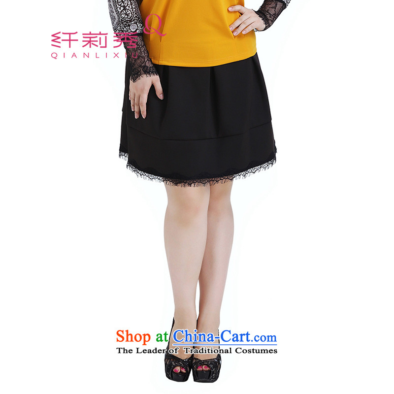 The former Yugoslavia Li Sau 2015 autumn large new mount female Korean commuter black wild lace like Susy Nagle boots skirt 0562 Black聽36