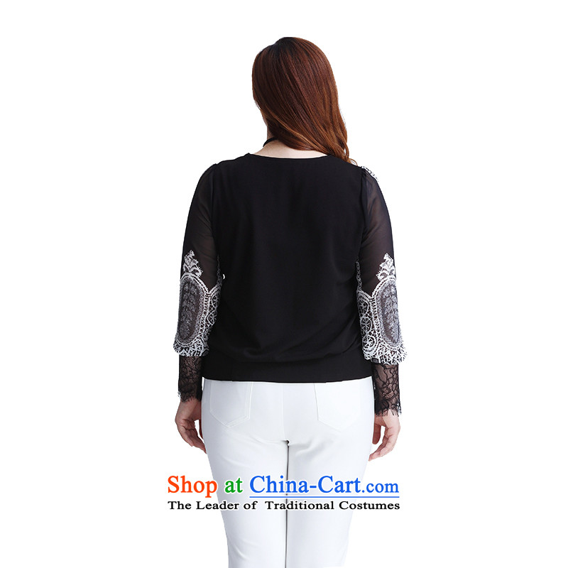 The former Yugoslavia Li Sau 2015 autumn large new mount female stylish engraving round-neck collar retro stamp long-sleeved stitching lace aristocratic ladies video thin coat 0088-22-7890black 2XL, Yugoslavia Li Sau-shopping on the Internet has been pressed.