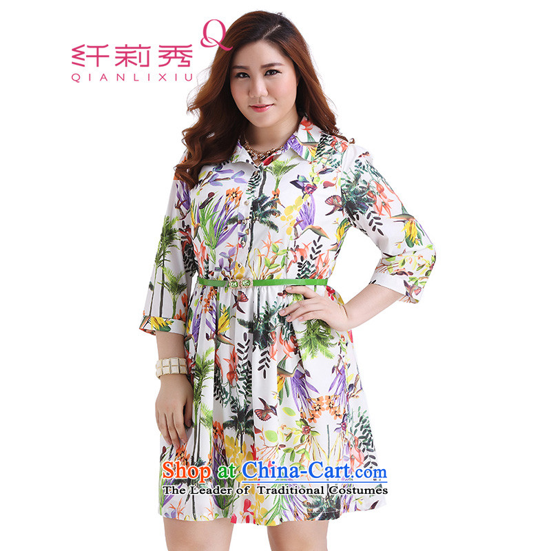 The former Yugoslavia Li Sau 2015 autumn large new mount female stylish lapel rainforest plant flowers and birds stamp Foutune of video-shirt thin dresses on white green Subhead _No. 2XL