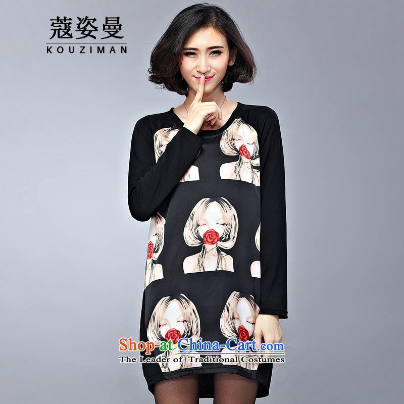 Gigi Lai Cayman large Coe women fall early autumn 2015, T-shirts, new thick girls' Graphics thin, long-sleeved mm thick dresses in long loose stamp black skirt 4XL..