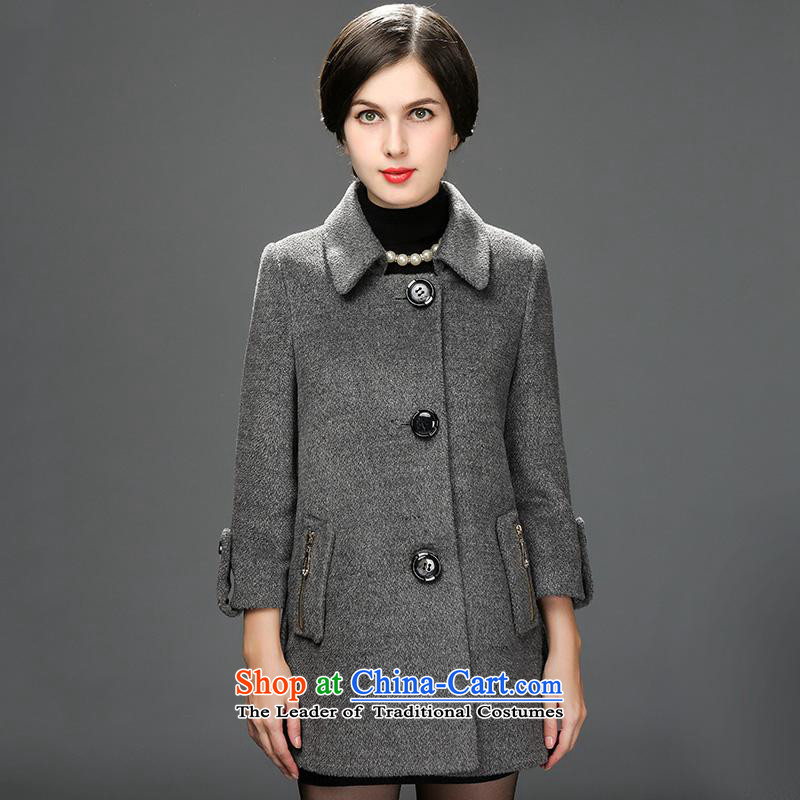 New Products ¦ Hengyuan Cheung 2015 winter new women's elderly mother woolen coats a winter of this jacket light gray 165_88A_L 7_