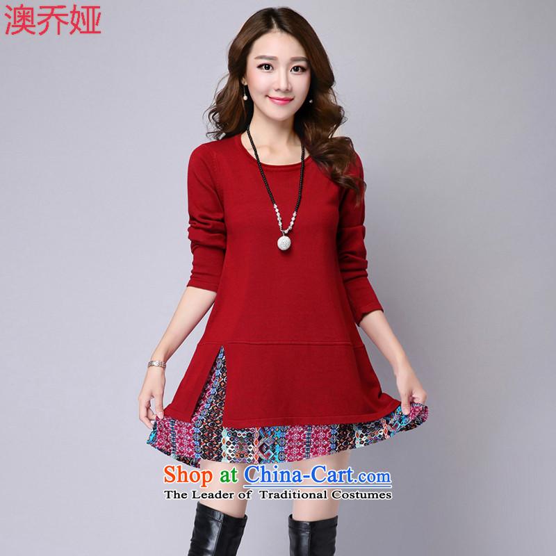 O Joe Ah 2015 autumn and winter new Korean trendy code women wear thin shirt loose video in long knitting long-sleeved dresses燦3591爓ine red color female�L