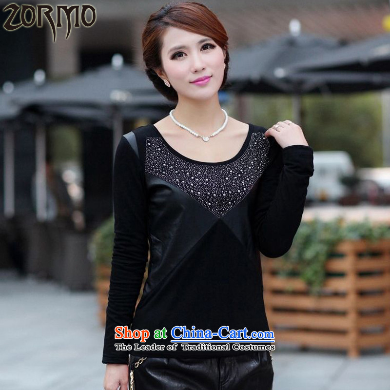 Women had darned ZORMO autumn and winter to xl forming the Shirt ironing drill PU draw lint-free thick black5XL thermal underwear 185-210 catty
