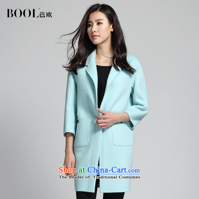 Barbara Euro 2015 Autumn new hand washable wool double-side suit coats, long hair? coats Yu blue L