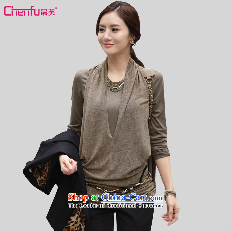 Morning to load the new 2015 autumn large female Korean long-sleeved T-shirt, long-forming the stylish shirt Sau San video thin leave two T-shirts khaki�L爎ecommendations 125-135 catty