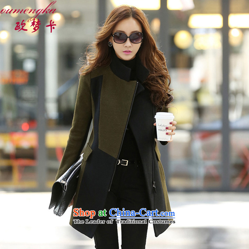 Visit the autumn and winter 2015 card new coats Korean gross? casual women as cashmere overcoat woman decorated Army GreenM