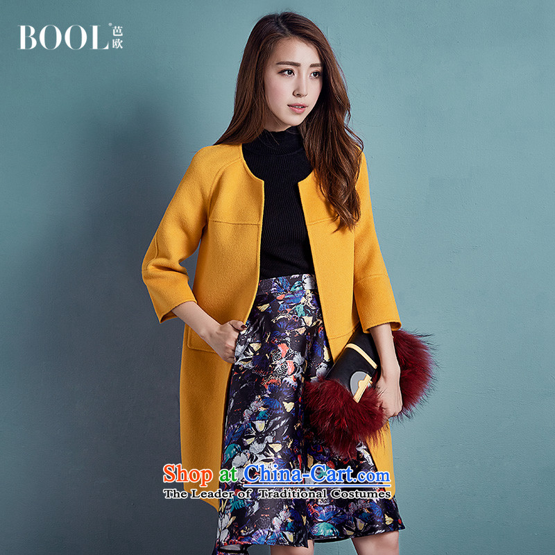 Barbara Euro 2015 Autumn Ms. new long neck hair? coats Korean wool satin jacket envelope of the Yellow 20-day pre-sale L