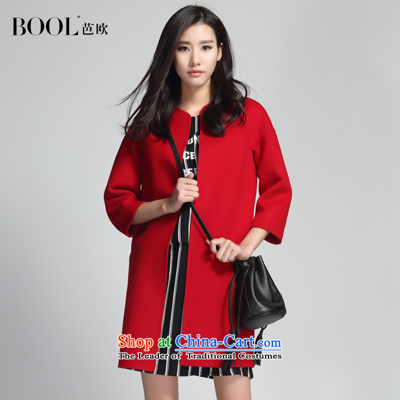Barbara Euro?2015 Autumn new seven-sleeved wool-sided flannel coats, long hair? jacket poppy red?S photographed the 20 day shipping