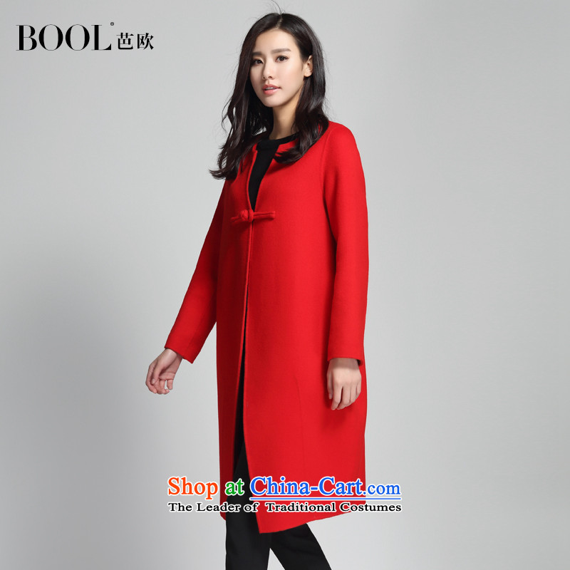 Barbara Euro2015 Autumn Ms. new two-sided gross? long jacket round-neck collar fleece suede coats of opium poppy REDM