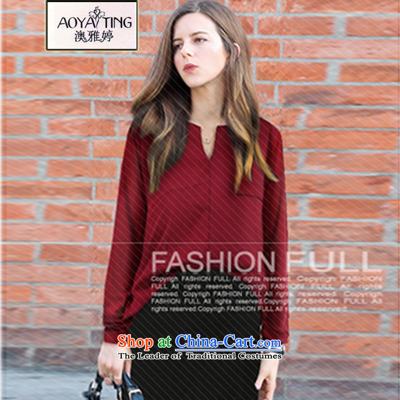 O Ya-ting 2015 Fall/Winter Collections new to increase women's code thick mm video thin V-neck shirt female wine red temperament 4XL recommends that you 160-180 catty