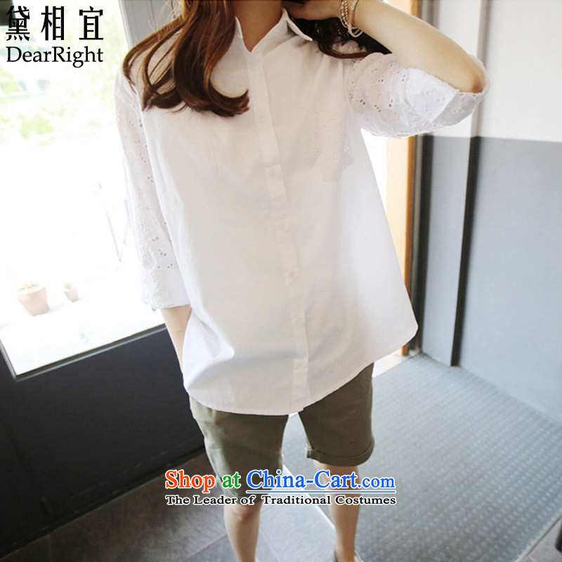 2015 mm Korean version of SISTER thick to xl shirt female 200 catties thick mm loose video long-sleeved shirt, forming the thin cotton white 3XL_ recommendations 170-200 catties_