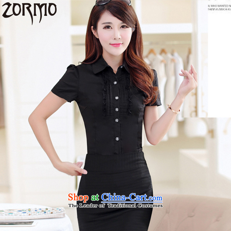 燣arge ZORMO women's summer attire for larger flip collar short-sleeve shirt thick mm to increase the number of female�39th black燲XXL shirts