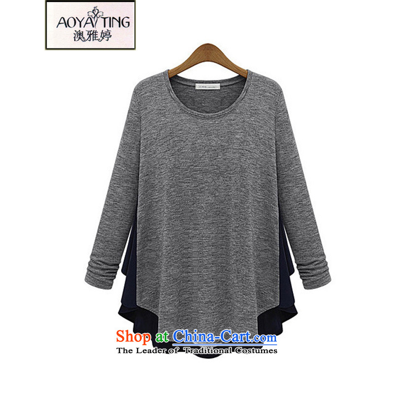 O Ya-ting 2015 autumn and winter, forming the new clothes to increase women's code thick mm round-neck collar leave two chiffon stitching Knitted Shirt female shirt light gray 5XL 175-200 recommends that you Jin