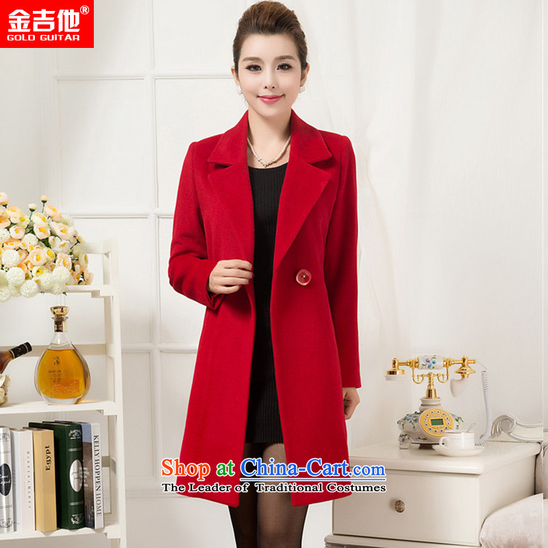 Kim guitar woolen coat female gross? non-cashmere overcoat jacket female female winter 2015 new winter clothing in long wool coat RED聽M?
