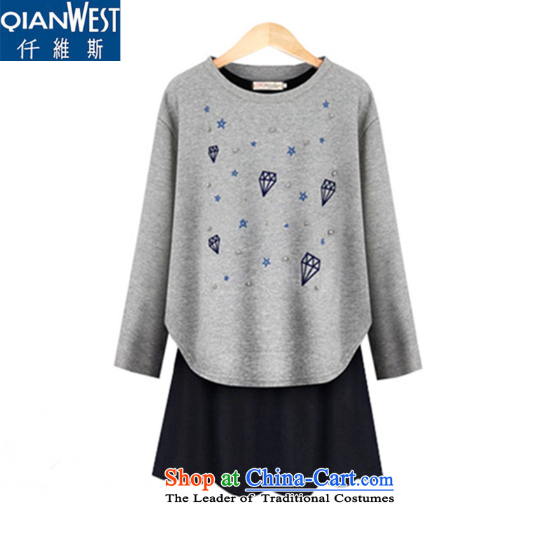 In2015, 5,000 new autumn and winter 200 catties thick mm ultra-thin graphics two kits sweater knit sweater vest the dresses 5822 gray T-shirt + blue skirt2XLrecommendations 120-140 catty