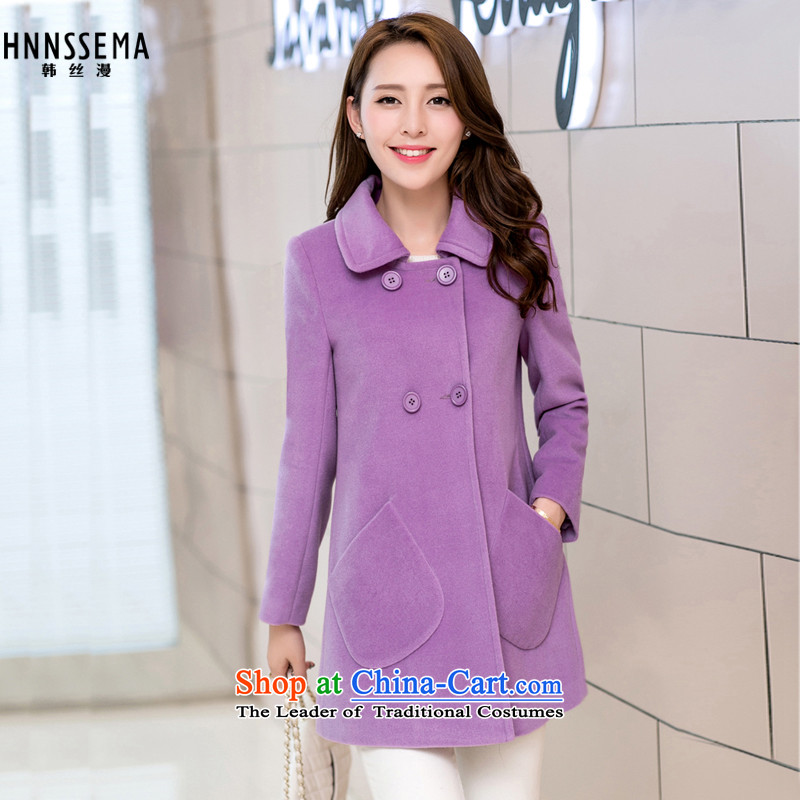 The Korean population spread of聽autumn and winter 2015 new a wool coat Korean loose pockets sweet gross? female HSM9003 jacket light purple聽S