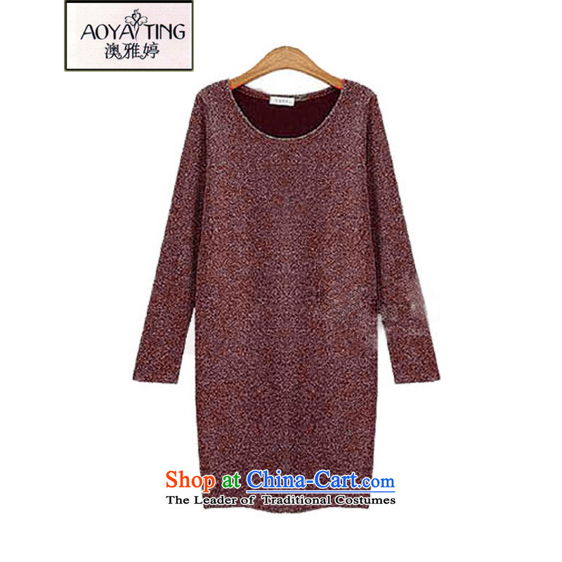 O Ya-ting聽2015 autumn and winter new to increase women's code, forming the mm thick dresses video thin Knitted Shirt shirt female wine red聽4XL聽recommends that you 160-180 catty