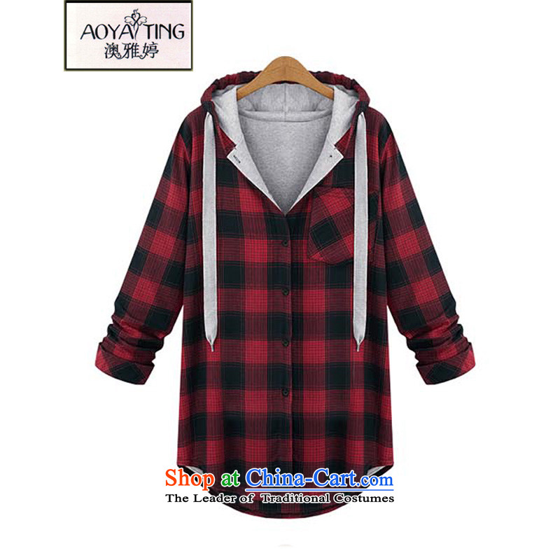 O Ya-ting�15 autumn and winter new to increase women's code thick mm thin, graphics, lattices sweater in Europe and the long red jacket cardigan latticed�L�5-200 recommends that you Jin