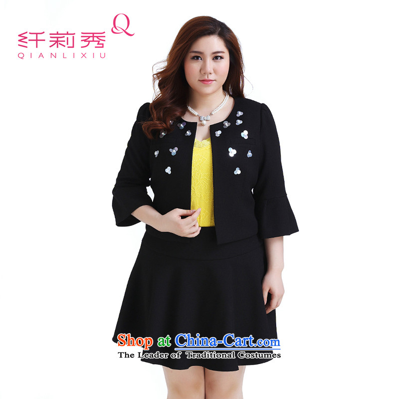 The former Yugoslavia Li Sau 2015 autumn large new mount female round-neck collar stereo nail pearl horn cuff western short jacket, black 5XL Q0219