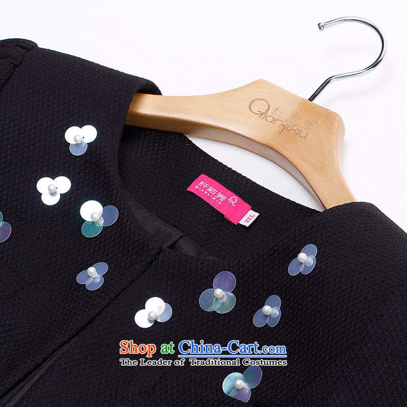 The former Yugoslavia Li Sau 2015 autumn large new mount female round-neck collar stereo nail pearl horn cuff western short jacket, black 5XL, Q0219 Yugoslavia Li Sau-shopping on the Internet has been pressed.