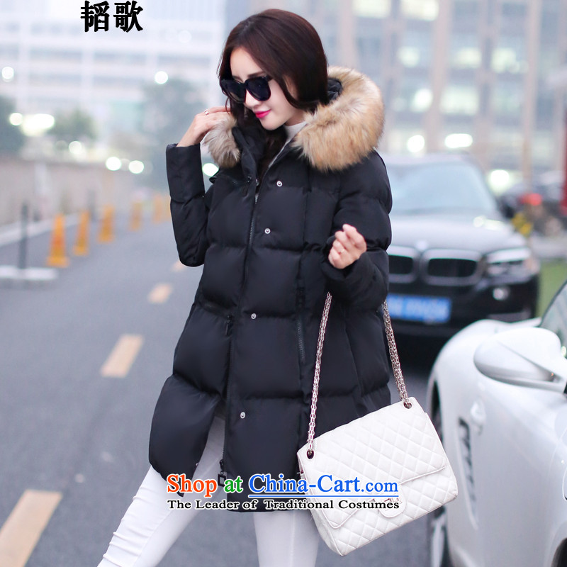 Song Tao thick mm to xl women in Europe, autumn and winter in a stylish new long feather 泾蜮 female jacket video thin cotton robe燣8148_ services燼round 922.747 137-150 2XL Black