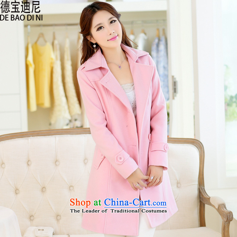 Debao Dini spring and autumn 2015 new for women a wool coat in the long strap double-Pretty Pink jacket? gross燲XL
