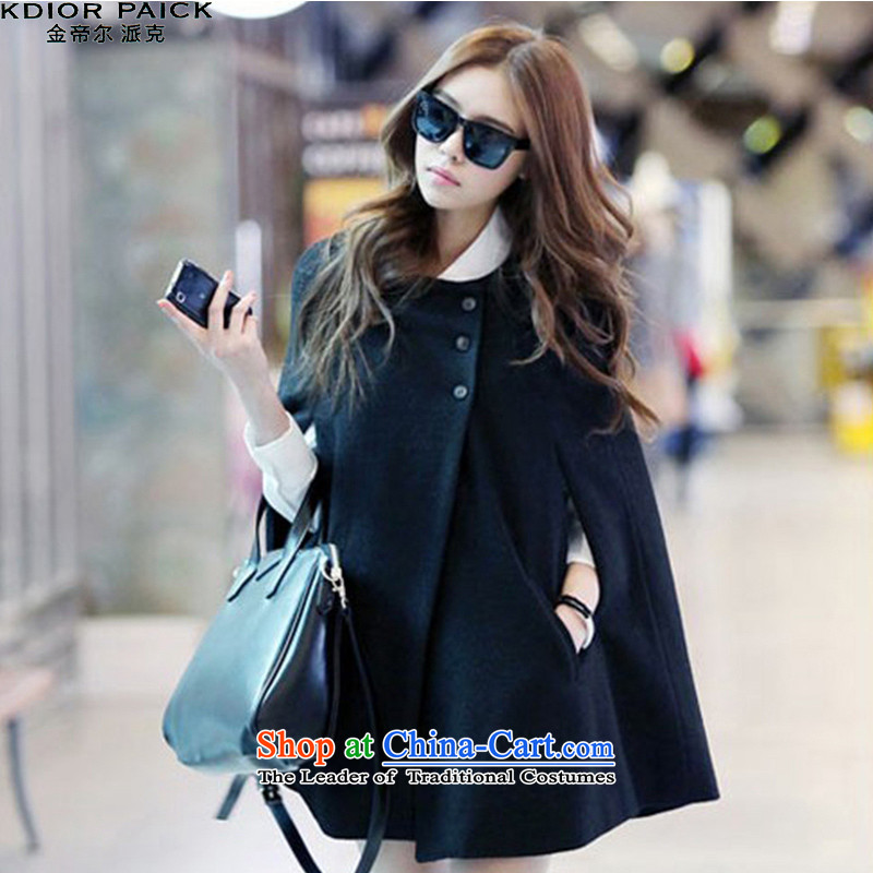 Emperor's gross of female jacket coat? 2015 autumn and winter new pure color in long coats G7485 black燣