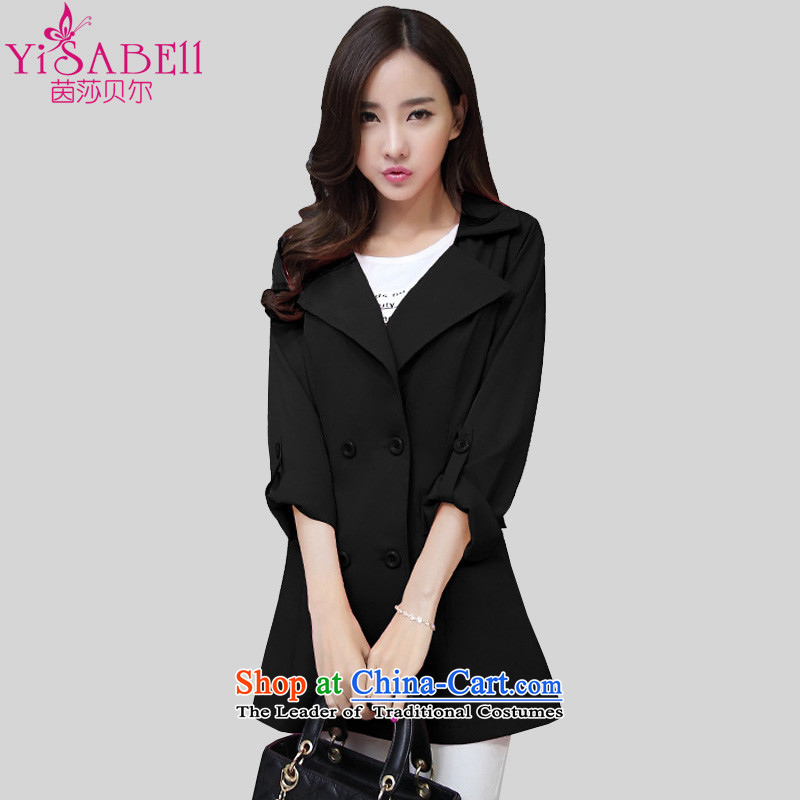 Athena Chu Isabel 200 catties autumn replacing Korean women xl thick mm stylish in double-long thin coat of Sau San video light jacket 1259 Black 5XL_ recommendations 180-200 catties_