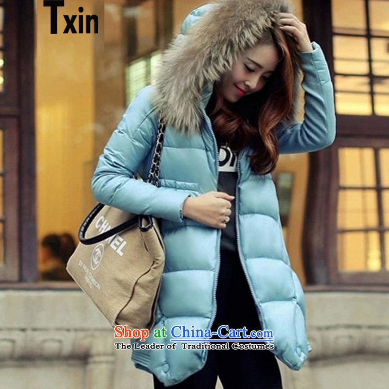 The Korean version of the new txin 2015, larger women Fall_Winter Collections windbreaker cotton jacket to intensify the thick, thin cap graphics loose hair for cotton coat lake blue 880, 145-165 3XL catty