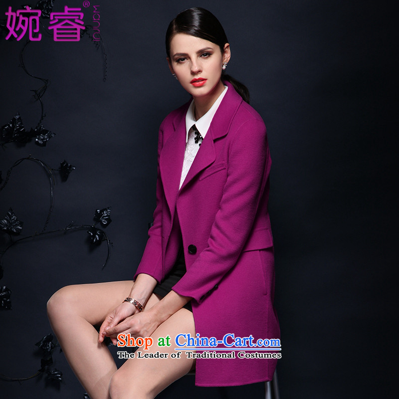 Yuen-core women聽2015 winter clothing new long-sleeved Sau San long temperament video thin wool coat jacket coat women? Mui purple聽XL