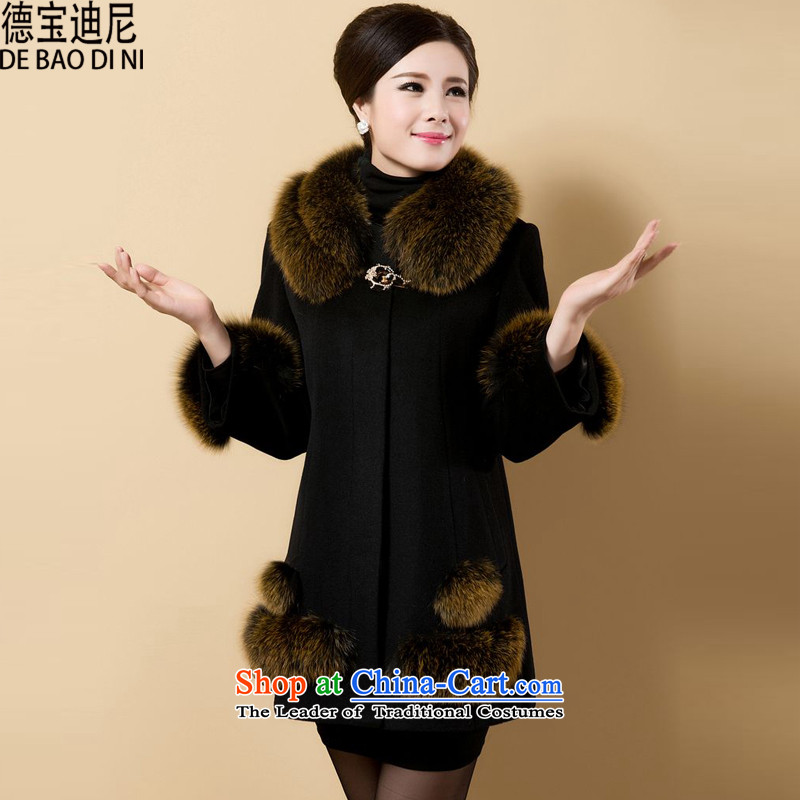 Debao Dini, in 2015 the new large older mother replacing gross Women's jacket? Nagymaros collar workers in long coats Black XL