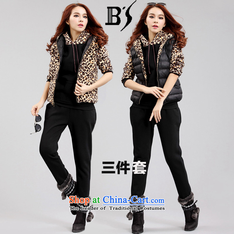 Yet by 2015 autumn and winter biao new Korean version of large numbers of ladies Leopard Ma focused sister stereo relaxing decor of the sportswear apparel 35567 3-piece set three Kit 4XL chest 160-200 recommended 120 catties