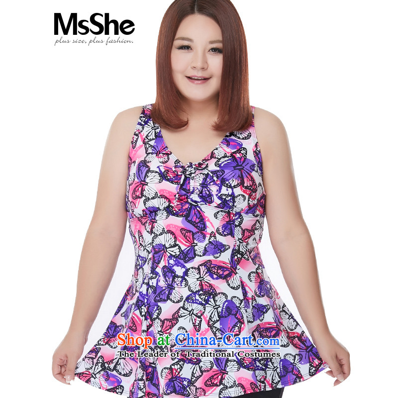 Large msshe women 2015 new summer gather Deep v all-collar Flat Angle Skort swimsuit 4096 first in red 5XL