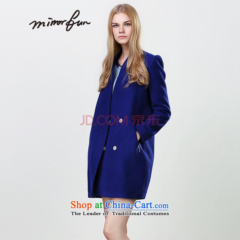Load the autumn 2015 MIRRORFUN new full-wool minimalist-video thin coat of the auricle Raven Blue燬