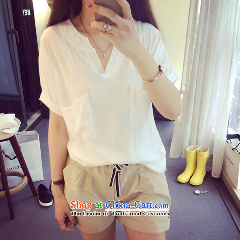 Billion by 2015 summer create new larger female sum female cotton linen short-sleeved shirt relaxd the Commission on Women white XXXL shirts