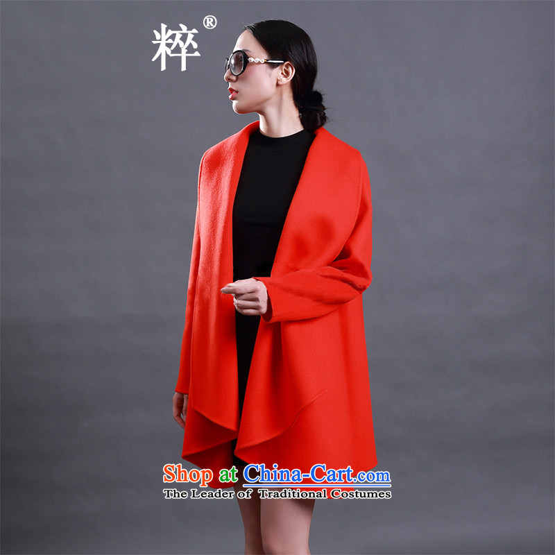 2015 Autumn and winter pearls of wisdom? coats jacket women gross duplex cashmere overcoat western temperament coats orange燤?