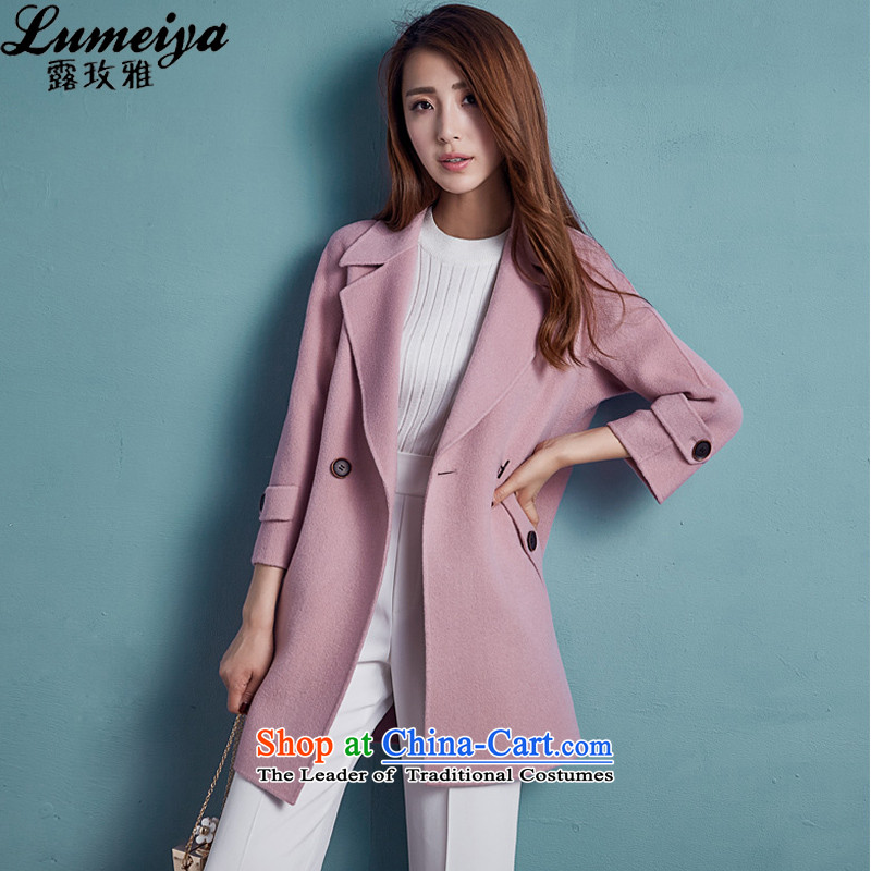 Receive Nga fall 2015, long hair? jacket high-end 2-sided wool velvet cloak 7074 female and pink燬