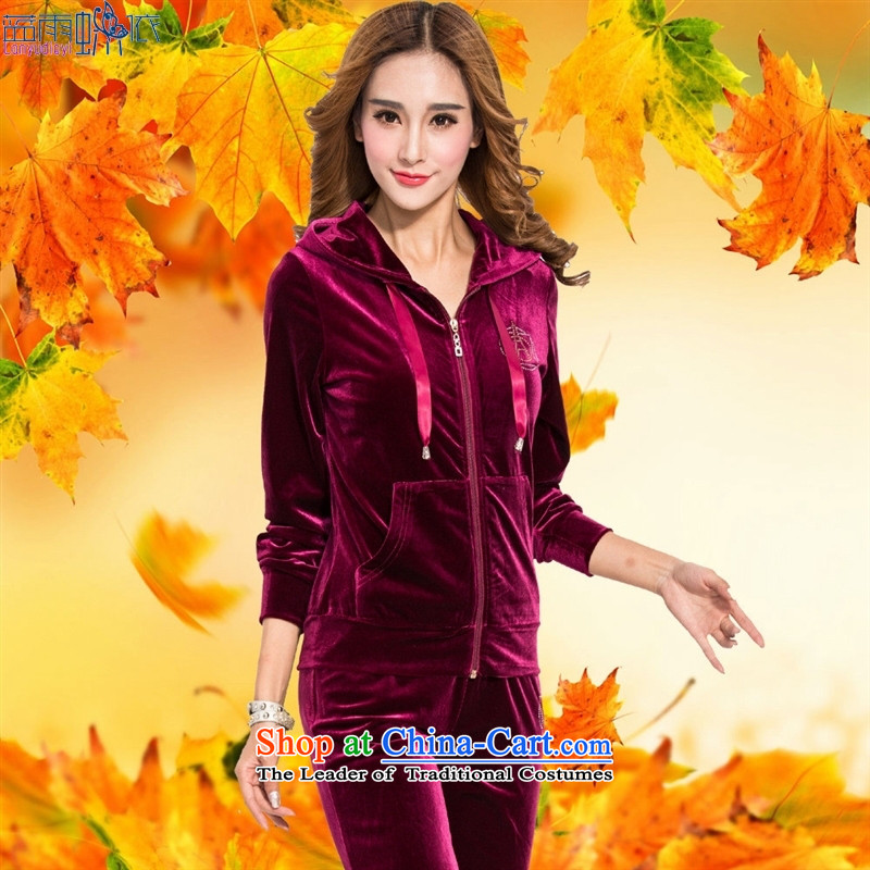 Load New autumn 2015 gold velour leisure suite with cap large long-sleeved trousers lint-free sports suits women Chun-blue燲XL