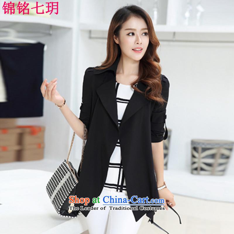 Kam Ming Yue Tai Code 7 women2015 Autumn new Korean temperament. Long large graphics thin air-jacket blackXXL